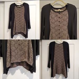 Comfy USA, Lace Long Sleeve Tunic, Black & Gray